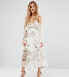 Платье макси с цветочным принтом и открытыми плечами River Island Petite - Мульти