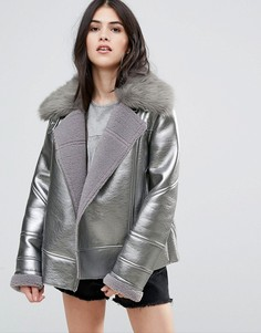 Байкерская куртка цвета металлик Urbancode - Серебряный