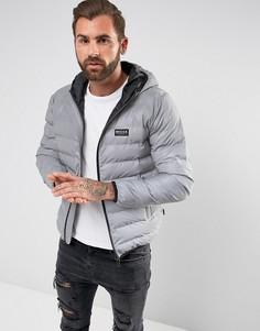 Дутая куртка со светоотражающим эффектом и капюшоном Nicce London - Серый