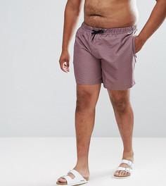 Розовые шорты для плавания средней длины с принтом ASOS PLUS - Розовый