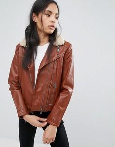 Куртка-авиатор из полиуретана Pepe Jeans Penty - Коричневый