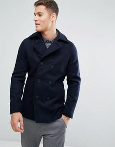 Шерстяное пальто‑бушлат Only & Sons - Темно-синий