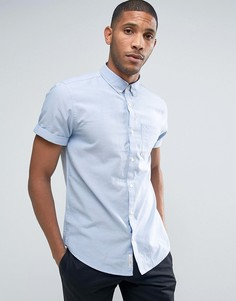 Синяя оксфордская рубашка с коротким рукавом River Island - Синий