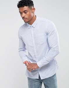 Голубая зауженная рубашка с принтом River Island - Синий