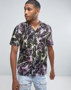 Фиолетовая рубашка с принтом пальм River Island - Фиолетовый