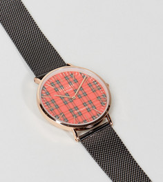Часы с принтом в клетку тартан и черным сетчатым ремешком Reclaimed Vintage Inspired эксклюзивно для ASOS - Черный