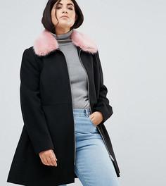 Приталенное пальто с воротником из искусственного меха ASOS CURVE - Черный