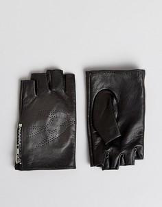 Черные кожаные перчатки без пальцев ASOS - Черный