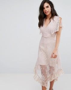 Платье миди с поясом River Island - Розовый