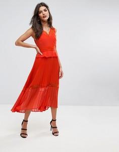 Кружевное плиссированное платье миди River Island - Оранжевый