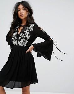 Свободное платье с вышивкой и завязками на рукавах River Island - Черный