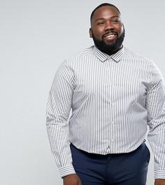 Серая эластичная приталенная рубашка в полоску ASOS PLUS - Серый