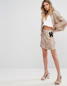 Жаккардовая юбка металлик с брошью River Island - Мульти