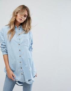 Джинсовая oversize-рубашка с рваной отделкой River Island - Синий