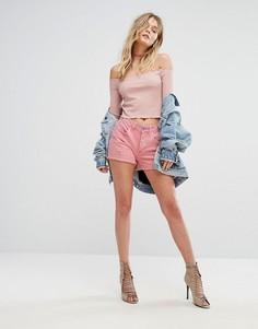 Джинсовые шорты бойфренда с потертостями River Island - Розовый