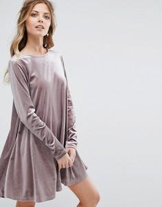 Бархатное свободное платье Glamorous - Фиолетовый
