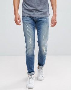 Узкие потертые джинсы Jack & Jones Intelligence - Синий
