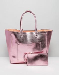 Пляжная сумка-тоут и кошелек эффектом металлик River Island - Розовый