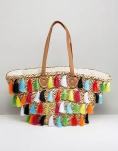 Пляжная сумка с бахромой River Island - Мульти