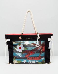 Пляжная сумка-тоут с отделкой River Island - Мульти