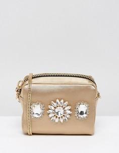 Маленькая сумка через плечо с отделкой камнями River Island - Золотой