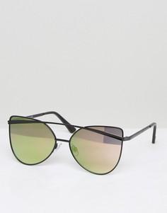 Солнцезащитные очки кошачий глаз со стеклами персикового цвета River Island - Черный