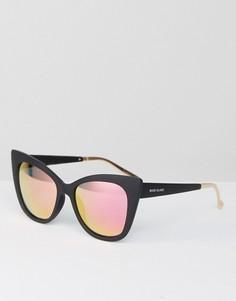 Черные матовые большие солнцезащитные очки кошачий глаз River Island - Черный