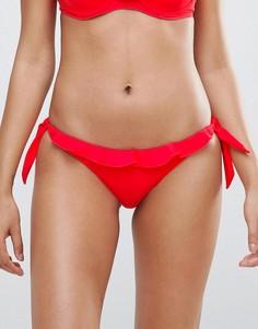 Плавки бикини с оборкой и завязками по бокам River Island - Красный