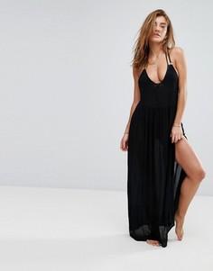 Платье макси с кольцами на спине River Island Rosa - Черный