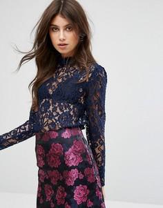 Топ с длинными рукавами из изящного кружева Fashion Union - Темно-синий