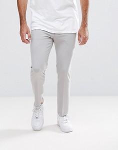 Серые укороченные супероблегающие строгие брюки ASOS - Серый