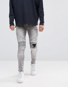 Байкерские джинсы скинни с рваными коленями Religion - Серый