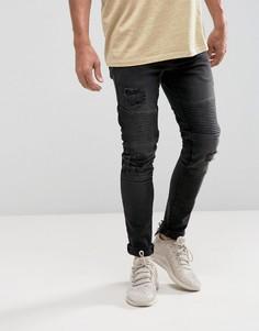 Черные супероблегающие байкерские джинсы с рваной отделкой ASOS - Черный