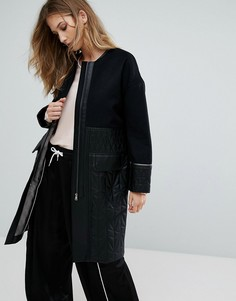 Пальто со стеганой отделкой Urbancode Ivanna - Черный