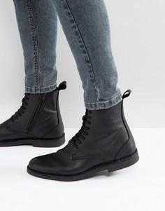 Черные кожаные ботинки на шнуровке Selected Homme Royce - Черный