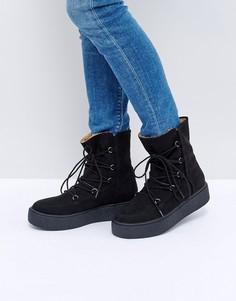 Зимние сапоги на шнуровке ASOS ALARNA - Черный