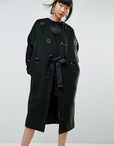 Шерстяное пальто с люверсами ASOS WHITE - Зеленый