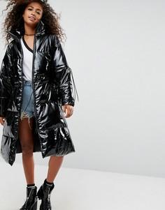 Дутое пальто миди оверсайз ASOS - Черный