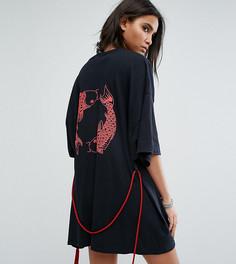 Футболка-кимоно с принтом на спине Milk It Vintage - Черный