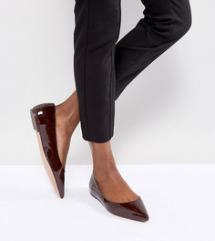 Балетки для широкой стопы с острым носком ASOS LATCH - Коричневый