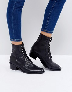 Кожаные ботинки на шнуровке ASOS AILEEN - Черный