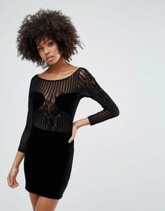 Платье в сетчатую полоску с цветами Motel Muse - Черный