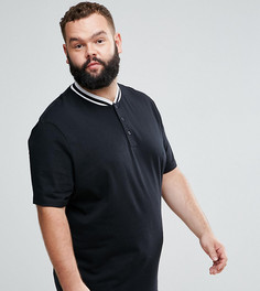 Супердлинная футболка с бейсбольным воротником и закругленным краем ASOS PLUS - Черный