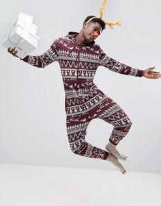 Новогодний комбинезон с капюшоном и традиционным узором Фэйр-Айл ASOS - Фиолетовый