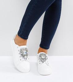 Кроссовки для широкой стопы с отделкой ASOS DOTTY - Белый
