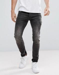 Стретчевые джинсы скинни с карманами на молниях Religion - Черный