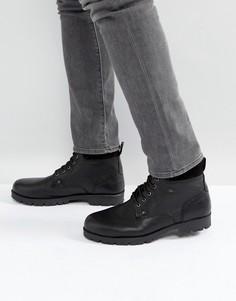 Черные кожаные рабочие ботинки на шнуровке ASOS - Черный