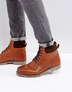 Светло-коричневые кожаные ботинки на шнуровке ASOS - Рыжий