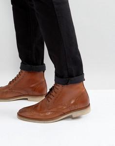 Светло-коричневые кожаные ботинки-броги на шнуровке с контрастной подошвой ASOS - Рыжий