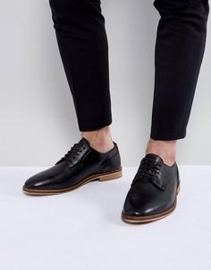 Черные кожаные дерби на шнуровке с натуральной подошвой ASOS - Черный